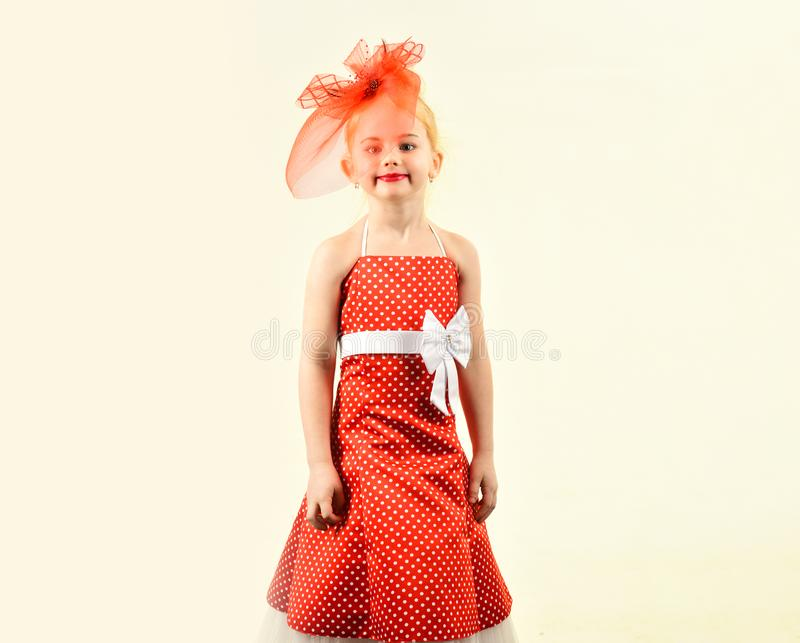Little girl in vintage dress, prom. Fashion and beauty, pinup style, childhood. Child girl in stylish glamour elegant stock images