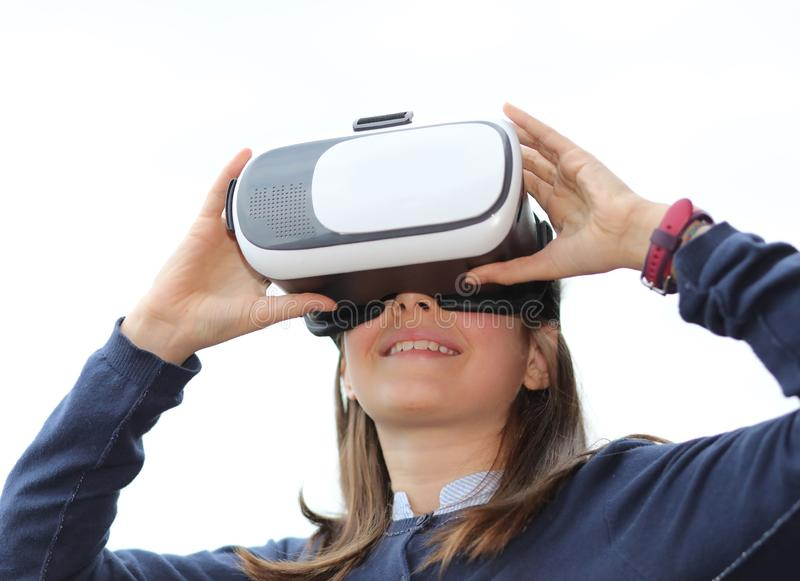 Little girl with virtual reality headset royalty free stock photography