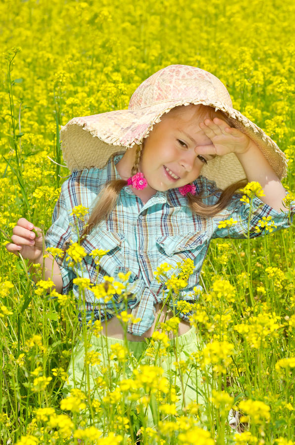 Download The little girl on walk stock photo. Image of countryside - 26072760