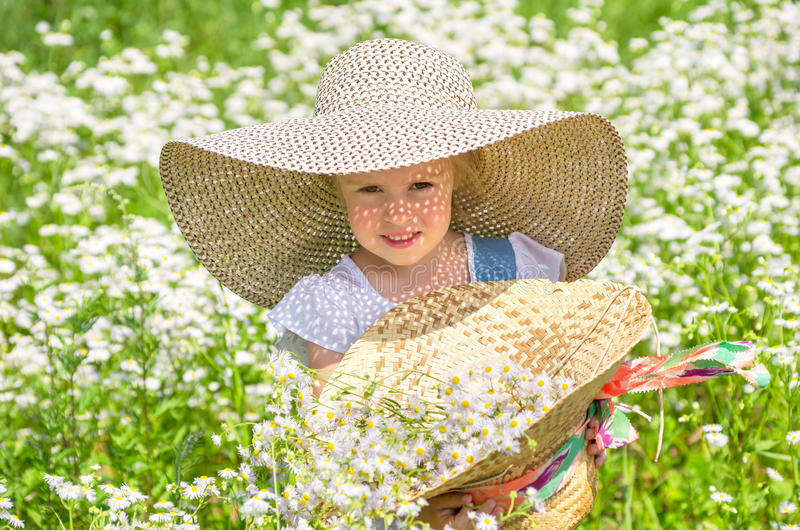Little girl on a walk stock photo