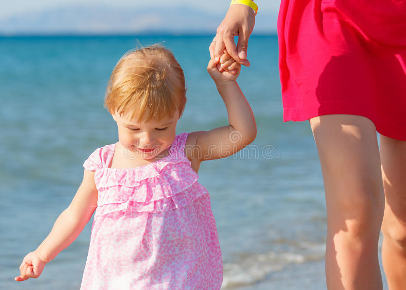 Download Little Girl Walking On The Beach Stock Image - Image: 25622391