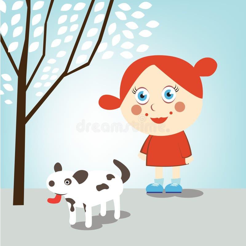 Little girl walking dog royalty free illustration