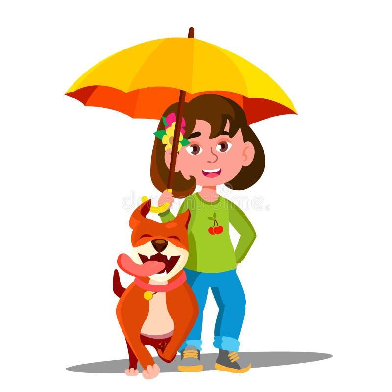 Little Girl Walking A Dog Under Umbrella In The Rain Vector. Illustration vector illustration