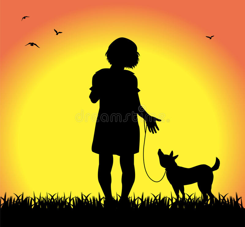 Little girl walking with her dog vector illustration