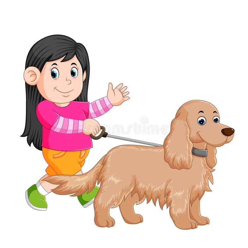 A little girl is walking with her female dog and waving her hand stock illustration