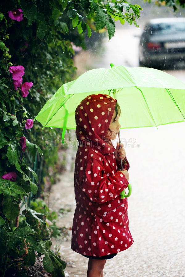Download Little Girl Walking In The Rain Stock Image - Image: 15108851