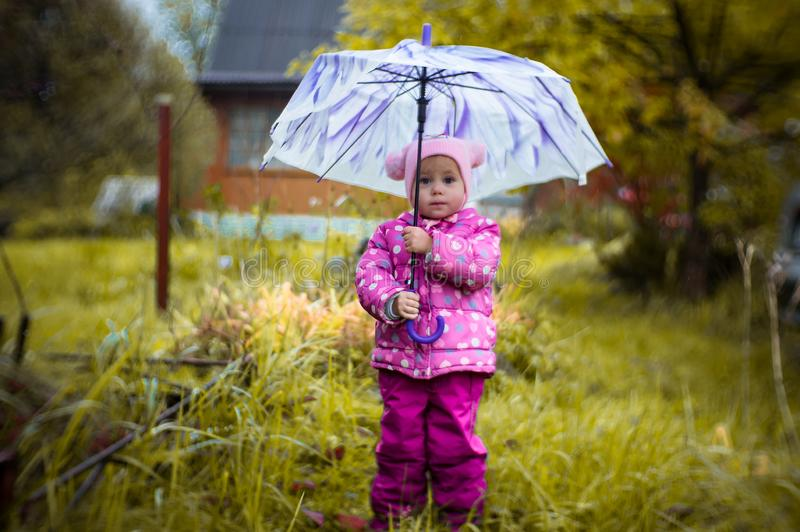 A little girl walks with an umbrella in the rain in the country. stock images