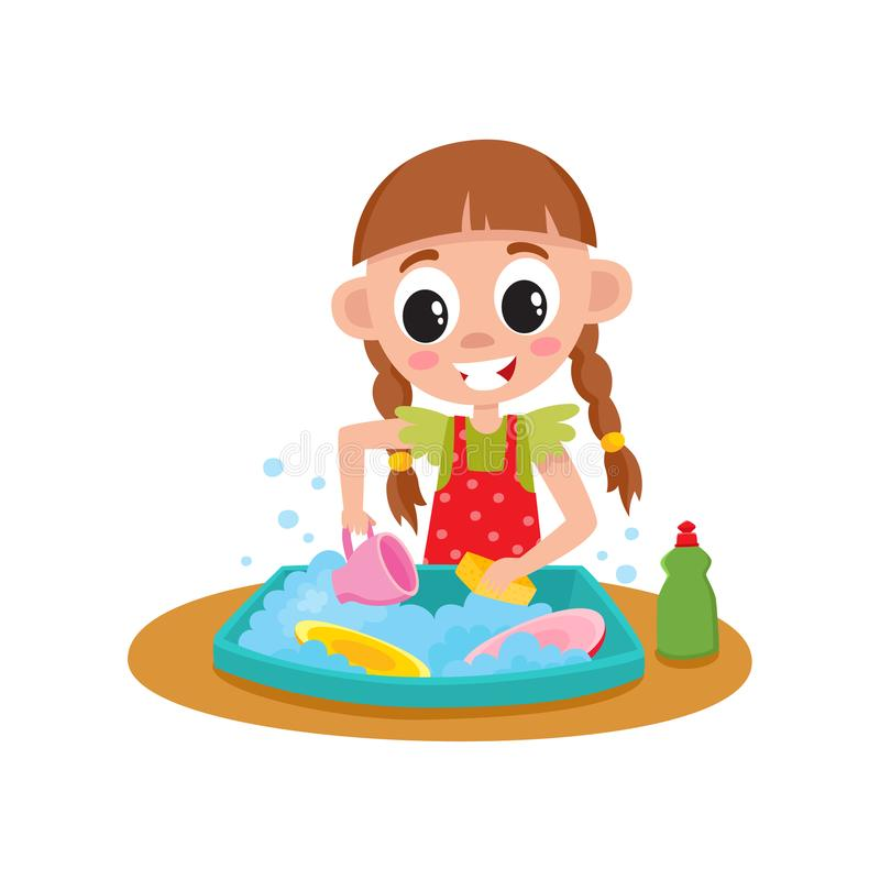 Little girl washing dishes in sink, daily routine. Little girl washing dishes in water sink, daily routine, home chore, cartoon vector illustration isolated on royalty free illustration