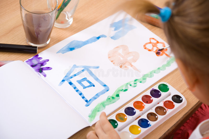 Download Little Girl Watercolor Paint Stock Image - Image: 4143349