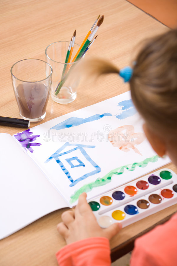Little girl watercolor paint royalty free stock image