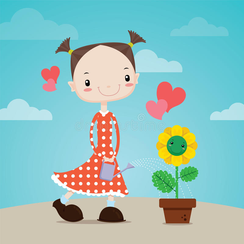 The Little girl watering flowers to plant. Vector cartoon royalty free illustration