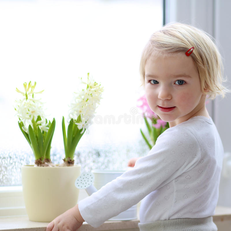 Little girl watering spring flowers at home stock images