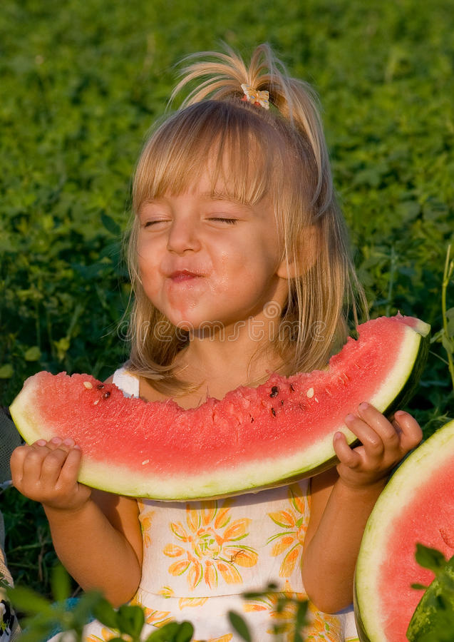 Download Little Girl With Watermelon Stock Photography - Image: 10990172
