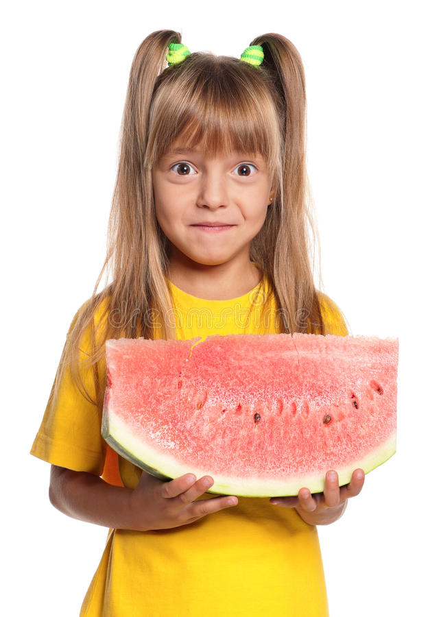 Download Little Girl With Watermelon Stock Image - Image of laughing, meal: 26714871