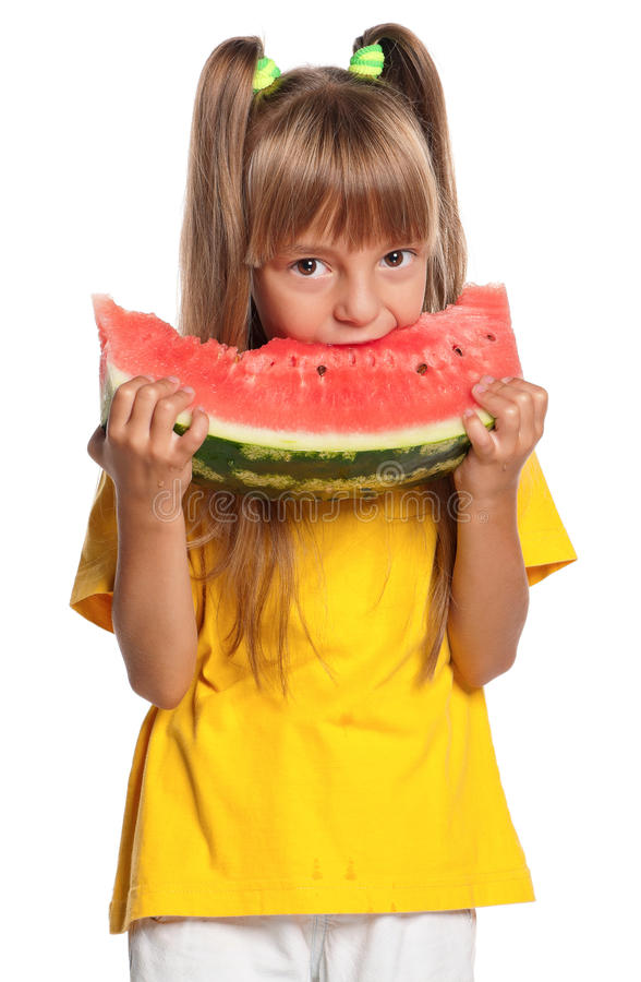 Download Little Girl With Watermelon Royalty Free Stock Photo - Image: 26800225