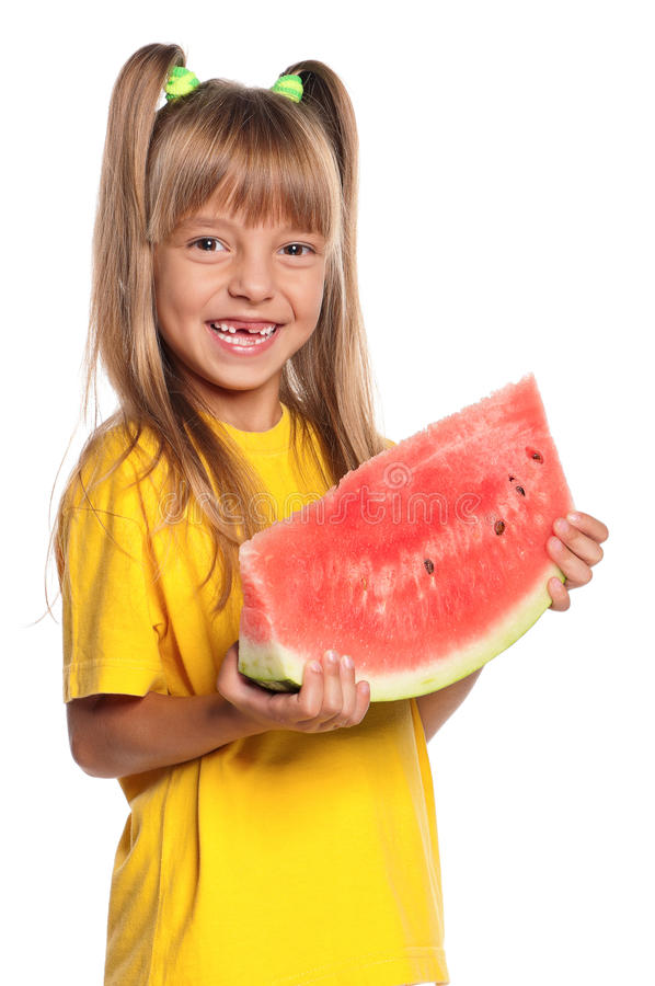 Little Girl With Watermelon Royalty Free Stock Photography
