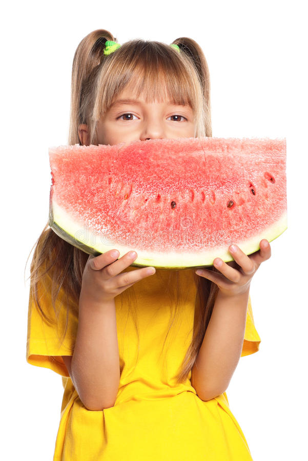 Download Little Girl With Watermelon Stock Photo - Image: 29315996