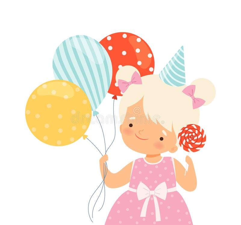 Little Girl Wearing Birthday Hat Carrying Candy and Bunch of Balloons Vector Illustration stock illustratie
