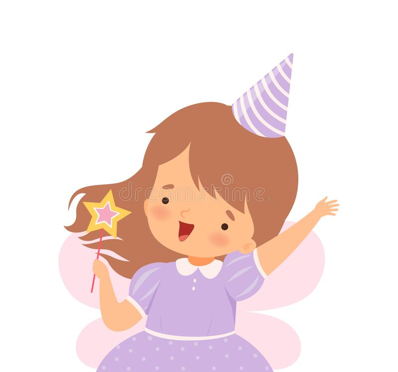Little Girl Wearing Birthday Hat and Fairy Costume Carrying Magic Stick Vector Illustration vector illustratie