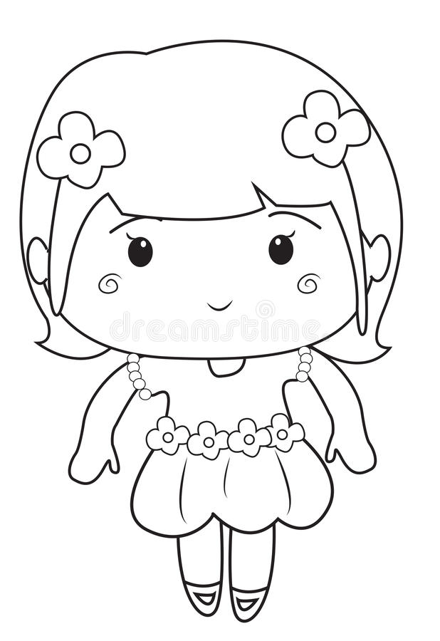 Little girl wearing a dress coloring page stock for Dress coloring pages for girls