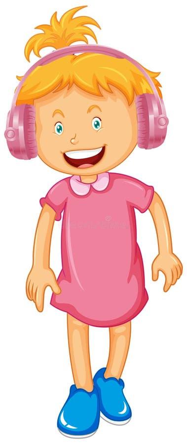 Little girl wearing headphone royalty free illustration