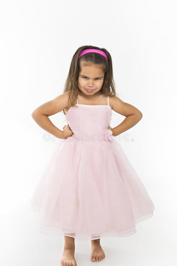 Download Little Girl Wearing Pink Dress Pouting. Stock Image - Image: 5538689