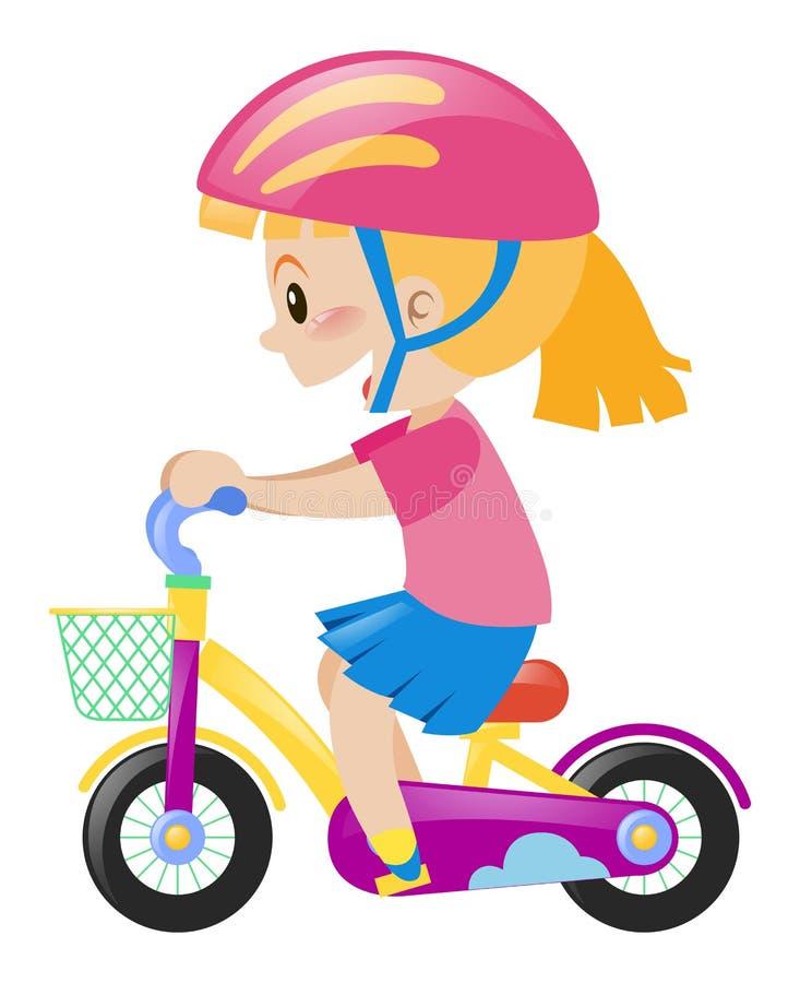Little girl wearing pink helmet riding bike. Illustration vector illustration