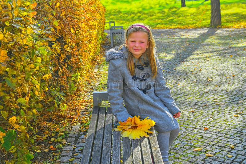 Little girl wearing retro coat and sitting on bench in park in autumn. Small girl is holding colorful autumn leaves. Autumn concep stock photography