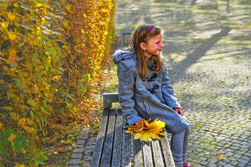 Little girl wearing retro coat and sitting on bench in park in autumn. Small girl is holding colorful autumn leaves. Autumn concep stock image