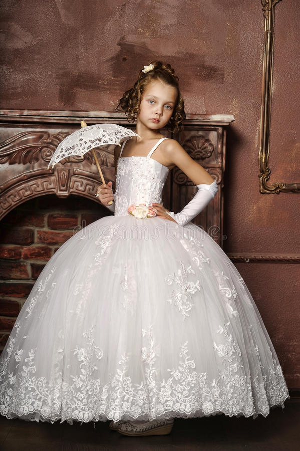 Little Girl In Wedding Dress Stock Image - Image of girl, happiness ...
