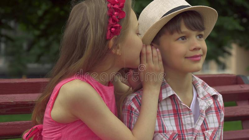 Little girl whispers in boy`s ear on the bench stock image