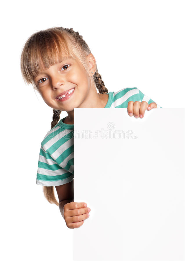 Little girl with white blank. Portrait of happy little girl with white blank isolated on white background royalty free stock photography