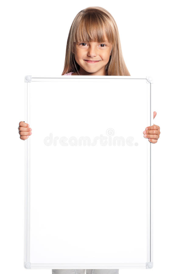 Download Little Girl With White Blank Stock Photo - Image: 27027146