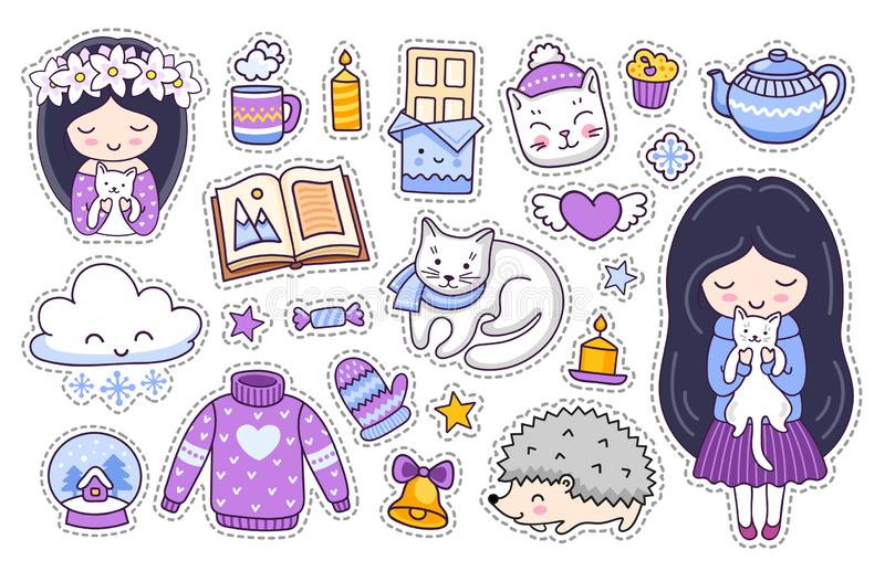 Little girl, white kitten, cat, hedgehog, chocolate, book, sweater. Set of cute cartoon winter stickers. Doodle style vector illustration