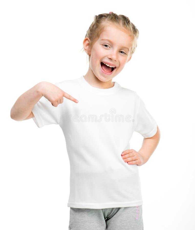 Little girl in white t-shirt stock photo