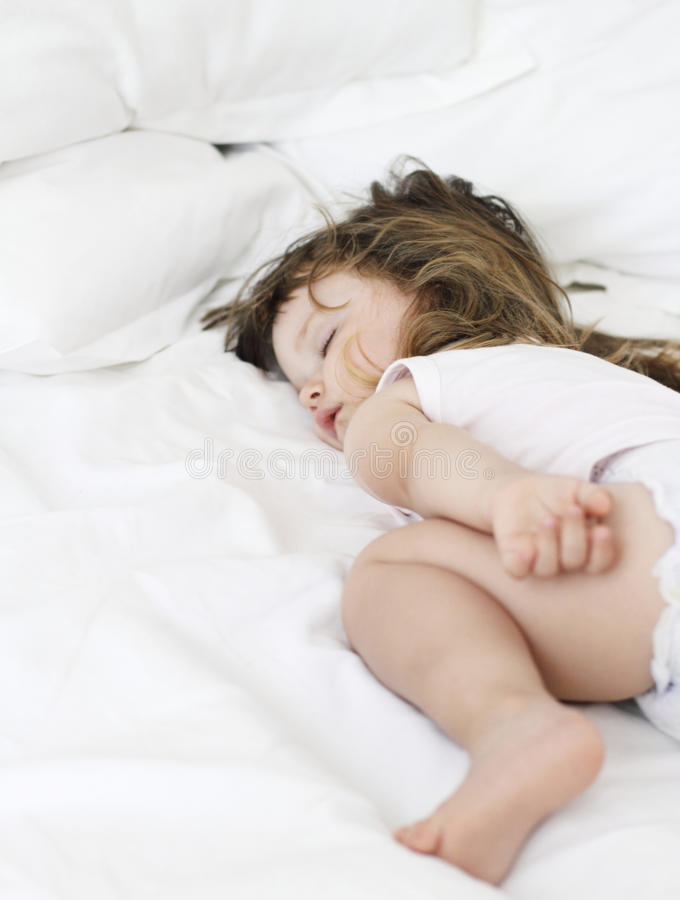 Download Little girl who sleeps stock image. Image of face, life - 25501723
