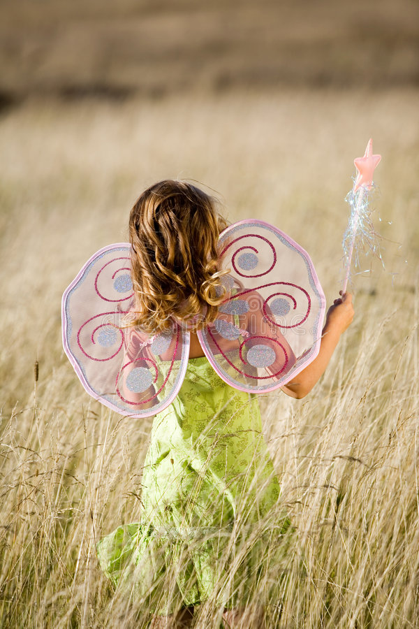 Download Little girl with wings stock photo. Image of countryside - 3011178