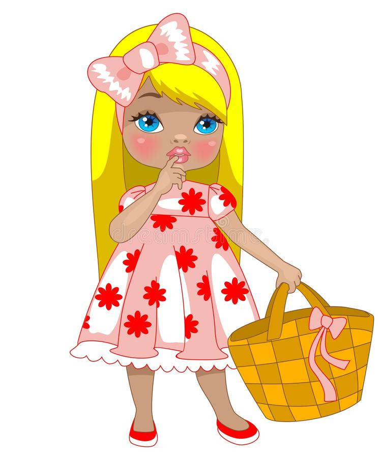 Free Little Girl With Bag Royalty Free Stock Photos - 22055288