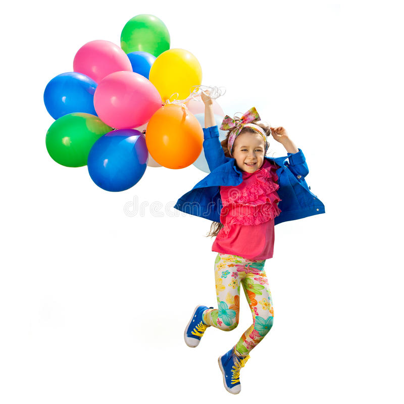 Free Little Girl With Balloons Jumping Royalty Free Stock Image - 41003606