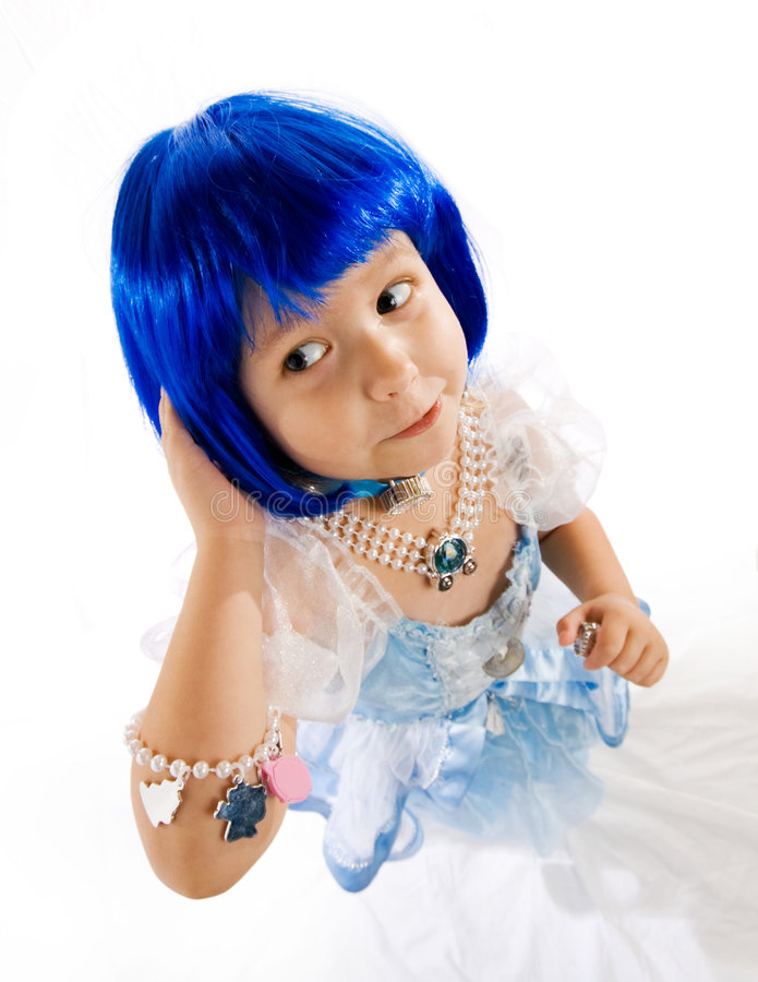 Free Little Girl With Blue Wig Royalty Free Stock Image - 3088076
