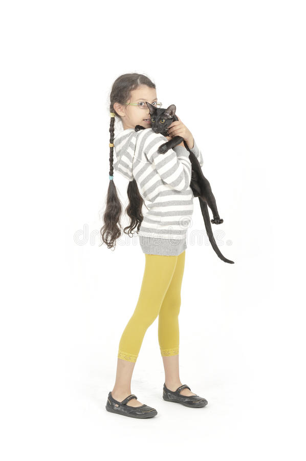 Free Little Girl With Her Black Cat Royalty Free Stock Images - 11316149