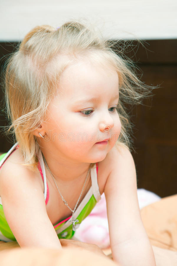 The little girl woke up royalty free stock photography