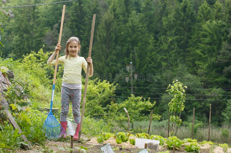 Little girl working in the garden stock images