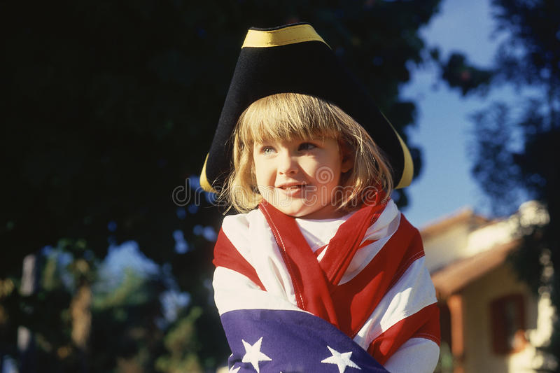 Download Little Girl Wrapped In American Flag, Editorial Image - Image: 23162475