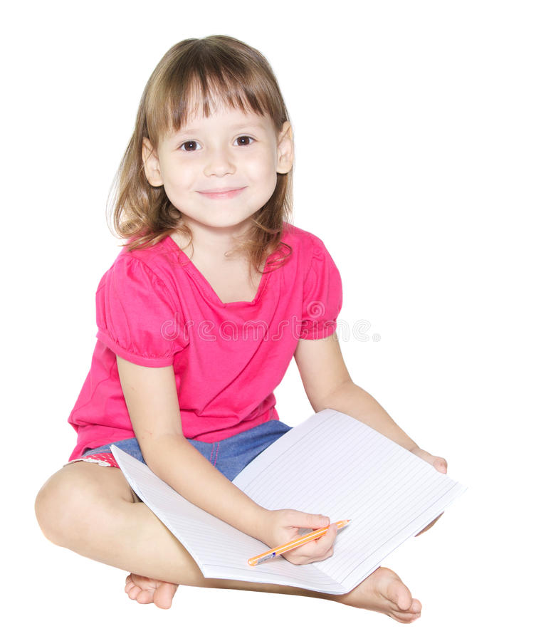 Download Little Girl Writing In Her Book Stock Image - Image: 33810305