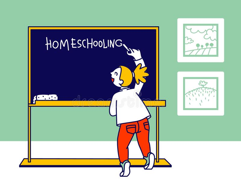 Little Girl Writing Word Homeschooling on Chalkboard in Classroom. Education and Getting Knowledge at Home Concept royalty free illustration