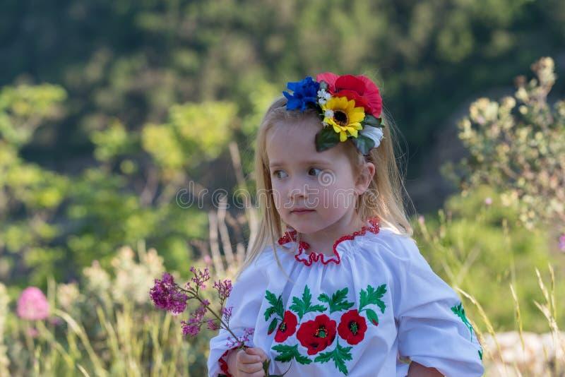 Little girl in Ukrainian national dress royalty free stock images