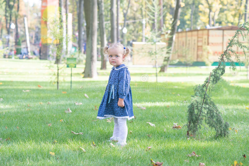 Little girl with yellow leaf. Child playing with autumn golden leaves. Kids play outdoors in the park. Children hiking in fall for royalty free stock image
