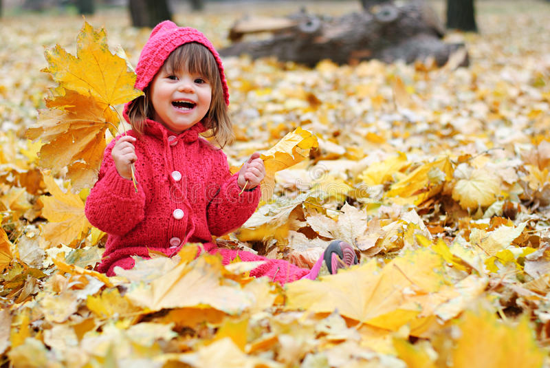 A little girl in yellow leaves stock photo