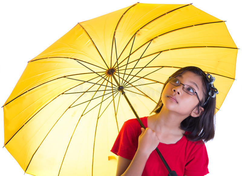 Little Girl and Yellow Umbrella III stock photos